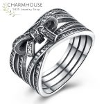 Genuine Sterling Silver Rings for Women <b>Antique</b> Silver Bowkont Ring with Zirconia Stones Fashion Brand <b>Jewelry</b> Anel Feminino