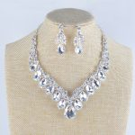 High quality wedding <b>jewelry</b> sets bridal silver necklace and earrings crystal rhinestone women party dress jewerly <b>accessories</b>