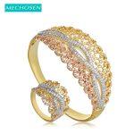 MECHOSEN Fashion Dubai <b>Jewelry</b> Sets Hollow Flower Bangles Ring For Women Lady Hand <b>Accessories</b> 3 Tones Micro Paved Zircon Bangle