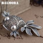 BALMORA 990 Pure Silver Goldfish Hollow Pendants Vintage Thai Silver <b>Jewelry</b> Women Animal <b>Accessories</b> Without a Chain SY12916