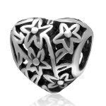 <b>Antique</b> Tone Hollow Flower Heart Shape Authentic 925 Sterling Silver European Charm Beads <b>Jewelry</b> Findings SAPB3132