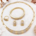2018 Italy Creative Fashion 18 Gold <b>Jewelry</b> Set Crystal Necklace Ring Earring Charm Women's Party Gift <b>Accessories</b>