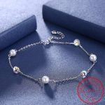 Beads Crystal Pearl Anklets For Women Summer <b>Jewelry</b> 100% 925 Sterling Silver Beach Shinning <b>Accessories</b> Simple Luxury Chain