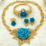 2018 New Dubai Fashion Charm Bride <b>Jewelry</b> <b>Accessories</b> African Crystal Rose Pendant Necklace Women Wedding Big <b>Jewelry</b> Sets