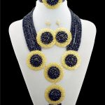 Nigerian <b>Accessories</b> Wedding African Beads <b>Jewelry</b> Set Black Crystal Vintage Earring Bracelet Necklace Ring Jewellery 2016 New