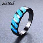JUNXIN Boho Blue Fire Opal Geometric Ring <b>Antique</b> Engagement Rings Wedding Bands For Women Vintage Black Gold Filled <b>Jewelry</b>
