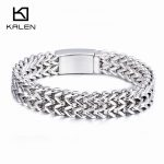Kalen High Quality 21cm Stainless Steel Link Chain Bracelets High Polished Mesh Bracelets For Men Fashion <b>Jewelry</b> <b>Accessory</b> Gift