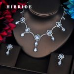 HIBRIDE Beautiful Flower Shape Multicolor CZ Design Women <b>Jewelry</b> Sets Necklace Sets Dress <b>Accessories</b> Wholesale Price N-398