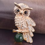 Luxury Gold Color Rhinestone Crystal Owl Animal Green Ball Pins and Brooches for Women Men Coat Broches <b>Jewelry</b> <b>Accessories</b> X260