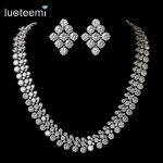 LUOTEEMI Brand Luxurious Europe Style White Gold-Color AAA Cubic Zircon Round Necklace Bridal Wedding <b>Jewelry</b> <b>Accessories</b>