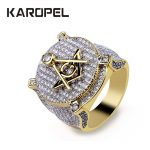 """Karopel Hip hop CZ letter """"A"""" """"G"""" Rings Cubic Zirconia Gold <b>Jewelry</b> Luxury Hip Hop <b>Accessories</b> Bling Ice Out Men Ring"""