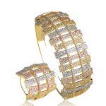 Dazz Shiny Women Lady Wedding <b>Jewelry</b> Sets Three Color Layer Copper Finger Ring Big Bracelet Bangle Full Zircon Anel <b>Accessories</b>