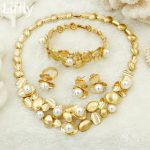 Dubai Fashion Charm Female Gold <b>Jewelry</b> Sets Luxury Crystal White Pearl Necklace Bracelet Italian Wedding <b>Jewelry</b> <b>Accessories</b>