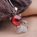 <b>antique</b> brand new sterling 925 silver <b>jewelry</b> natural garnet kitty cat pendant necklace with box chain garnet silver <b>jewelry</b>