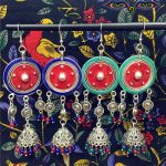 Exquisite India Pakistan Morocco Gypsy <b>Antique</b> Blue Glaze Jhumka Earrings India Tribal Chandelier earrings Middle East <b>Jewelry</b>