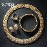 OUMEILY New Desing <b>Jewelry</b> Sets Bijouterie For Women African Beads Imitated Crystal Gold Color Necklace Earrings <b>Accessories</b>