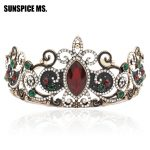 Elegant Princess Crown Women Tiaras Red Resin Flower Hair Queen <b>Jewelry</b> <b>Antique</b> Gold Crystal Ethnic Bride Wedding Beauty Crowns