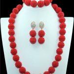 Red clothing <b>accessories</b> <b>jewelry</b> suits Africa beads imitation pearl <b>jewelry</b> suit Nigeria wedding bridesmaid necklace <b>jewelry</b> set