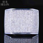 HELON <b>sterling</b> <b>silver</b> 925 Mens <b>Jewelry</b> Pave Round Cut Genuine Natural Diamonds Ring Wedding Fashion Pinky Band Ring 1.2ct