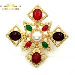 Elizabeth <b>Antique</b> Imitated Pearl and Colored Stone Cross Brooches Gold Tone Opens Craft Baroque Cross Pins for Religious <b>Jewelry</b>