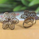 100pcs 27mm Flower Pad ring blank with Cameo Tray,<b>Antique</b> Bronze Ring setting,Handmade DIY Zakka <b>jewelry</b> Finding