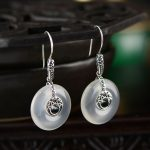 2018 Earings Fashion <b>Jewelry</b> Natural Jade Pith Safety Button Earrings, Folk Wind, Women's <b>Antique</b> Thai Valentine's Day Gifts.