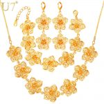 U7 Gold Color Big Flower <b>Jewelry</b> Set For Women <b>Accessories</b> Trendy Wedding <b>Jewelry</b> Sets For Brides S688