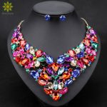 10Color Fashion Rhinestone Bridal <b>Jewelry</b> Set Wedding Prom Party <b>Accessories</b> Gold Color Necklace Earring Set For Brides Women