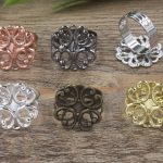 100pc 23mm Flower Pad ring blank Cameo Tray,<b>Antique</b> Bronze/Gold/Silver Ring setting,Handmade DIY Zakka <b>jewelry</b> Finding