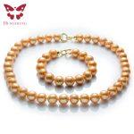 Natural Gold Freshwater Pearl <b>Jewelry</b> Sets,Necklace&Bracelet,Near Round Edison Pearl,Fashion 925 <b>Sterling</b> <b>Silver</b> Beads <b>Jewelry</b>