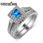 Vecalon <b>Antique</b> <b>Jewelry</b> Wedding Band Ring Set for Women AAAAA Zircon Cz 10KT White Gold Filled Engagement birthstone ring