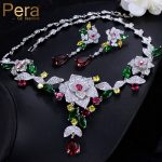 Pera Noble Bridal Wedding <b>Jewelry</b> <b>Accessories</b> Big Heavy Flower Pendant Cubic Zirconia Necklace And Earrings Set For Brides J247