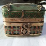 <b>Antique</b> porcelain inlay box miscellaneous collection of old Porcelain <b>Jewelry</b> Box ornaments gifts <b>antique</b> old objects ornaments