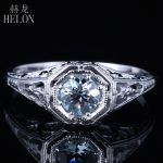 HELON Solid 14K White Gold 4.5mm Round Cut Aquamarine Engagement Anniversary Filigree Women's <b>Jewelry</b> <b>Art</b> <b>Deco</b> Fine Ring