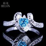 HELON <b>Art</b> <b>Deco</b> Solid 10K White Gold 5mm Trillion 1ct 100% Genuine Blue Topaz Engagment Wedding Vintage Antique <b>Deco</b> <b>Jewelry</b> Ring