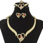 CZ New Women Fashion Italy Exquisite Gift Heart-shaped Necklace Gold <b>Jewelry</b> Set Of High Quality Red Crystal <b>Jewelry</b> <b>Accessories</b>