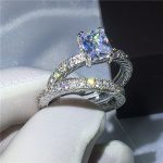 2018 <b>Antique</b> ring White Gold Filled Engagement Wedding Band Rings for women Princess cut AAAAA zircon cz Female Finger <b>Jewelry</b>