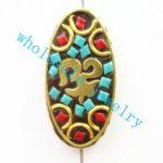 (Min. Order is $10)5pcs/lot Nepal Tibetan Type Manual <b>Antique</b> Bead, Flat Oval Brass Embed Imitation Turquoises H662785 32x16x8mm