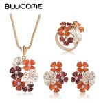 Blucome Fashion Orange Enamel Flower Necklace Earrings Rings Gold Color <b>Jewelry</b> Sets Women Bridals Banquet Wedding <b>Accessories</b>