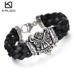 Kalen Men's Woven Leather 22CM Bracelet Punk Stainless Steel Huge Ghost Demon Bracelet Bangle Rock <b>Jewelry</b> Male <b>Accessories</b>