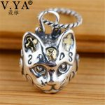 V.YA Retro 925 Sterling Silver Cat Pendant Fit Most Necklace for Men Women Kids Thai Silver <b>Jewelry</b> <b>Accessories</b>