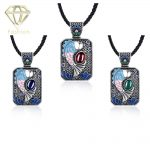 3 Color Styles Natural Stones Rectangle Pendant Handmade <b>Antique</b> Silver Plated National Wind Necklaces Vintage <b>Jewelry</b> for Women
