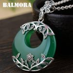 BALMORA 925 Sterling Silver Green Pendants for Women Mosaic Leaf Vintage Silver <b>Jewelry</b> <b>Accessories</b> Without a Chain MN10502
