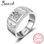 LMNZB Original Real Solid 925 Sterling Silver Rings for Men Luxury CZ Diamant Vintage Fashion <b>Jewelry</b> Gift <b>Accessories</b> LMJZ012