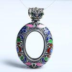 Cloisonne Enamel 925 Sterling Silver Pendant fit 20x30mm Oval Cabochon Semi Mount Fine <b>Jewelry</b> <b>Art</b> <b>Deco</b> Vintage