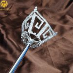 Unisex King Queen Silver Sceptre Parade Pageant Party Costumes Rhinestone Long Scepter Wand Handheld Prop Staff <b>Accessories</b>