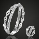 Luxury Brand Europe Design cubic Zircon Bangle & Rings Wedding <b>jewelry</b> sets Women's Bangle Rings <b>Accessory</b> Sets Men Bangle sets