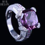 HELON Flawless 12MM Cushion 6CT Genuine Amethyst Trendy <b>Jewelry</b> Ring Natural Diamonds Solid 10K White Gold <b>Art</b> <b>Deco</b> Vintage Ring