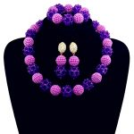Fashion Purple Women Stylish Crystal Beads <b>Jewelry</b> <b>Accessories</b> Nigerian wedding african beads <b>jewelry</b> set ABD011