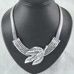 <b>Antique</b> silver Tree Leaves Pendant <b>Jewelry</b> Big Choker Chain Necklace,NL-930